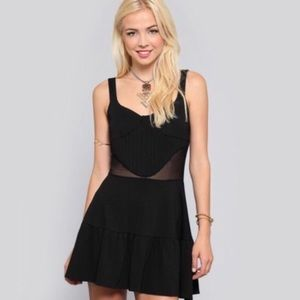 For Love And Lemons Little Black Dress With Mesh